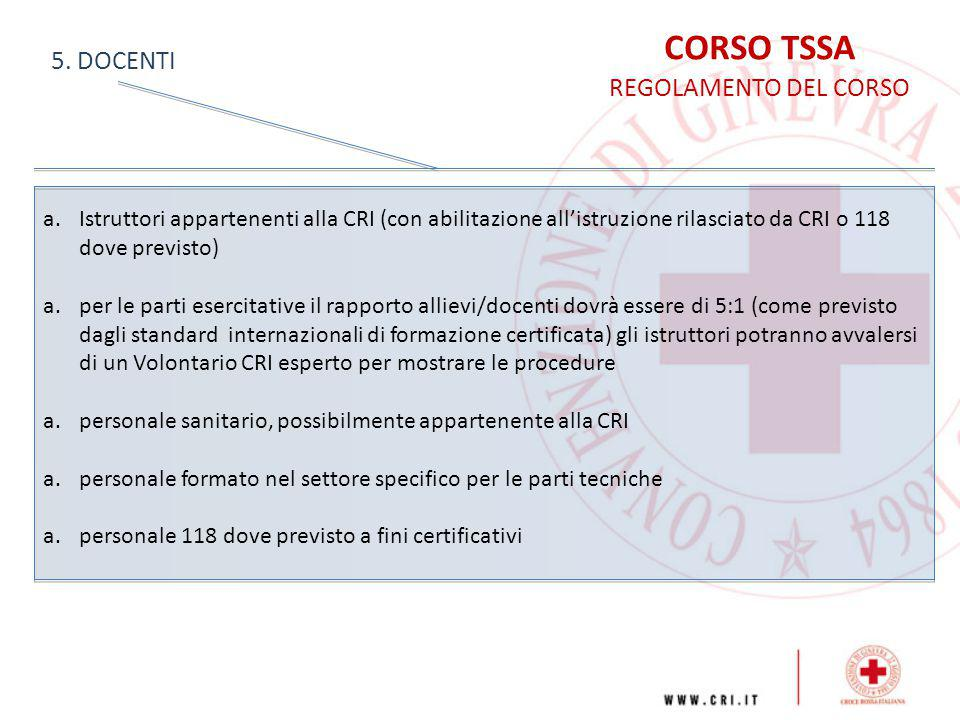 CORSO TSSA 5. DOCENTI REGOLAMENTO DEL CORSO