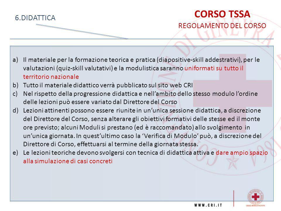 CORSO TSSA 6.DIDATTICA REGOLAMENTO DEL CORSO