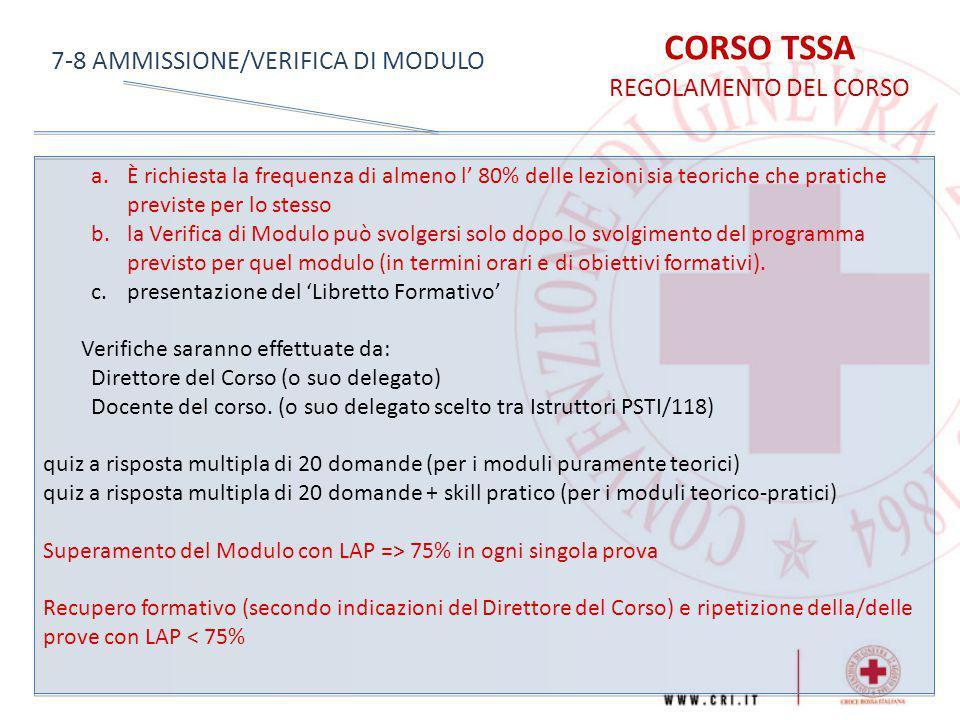 CORSO TSSA 7-8 AMMISSIONE/VERIFICA DI MODULO REGOLAMENTO DEL CORSO
