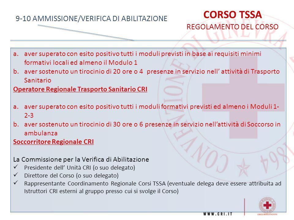 CORSO TSSA 9-10 AMMISSIONE/VERIFICA DI ABILITAZIONE