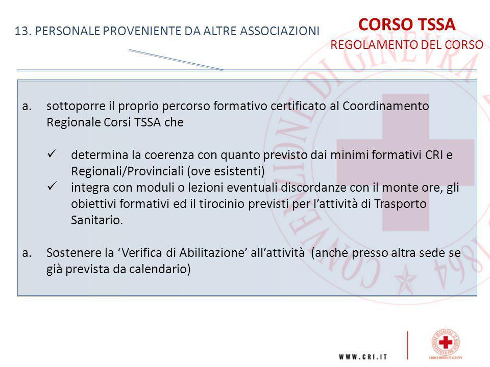 CORSO TSSA 13. PERSONALE PROVENIENTE DA ALTRE ASSOCIAZIONI