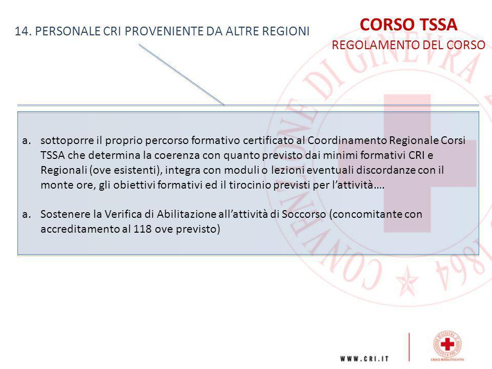 CORSO TSSA 14. PERSONALE CRI PROVENIENTE DA ALTRE REGIONI