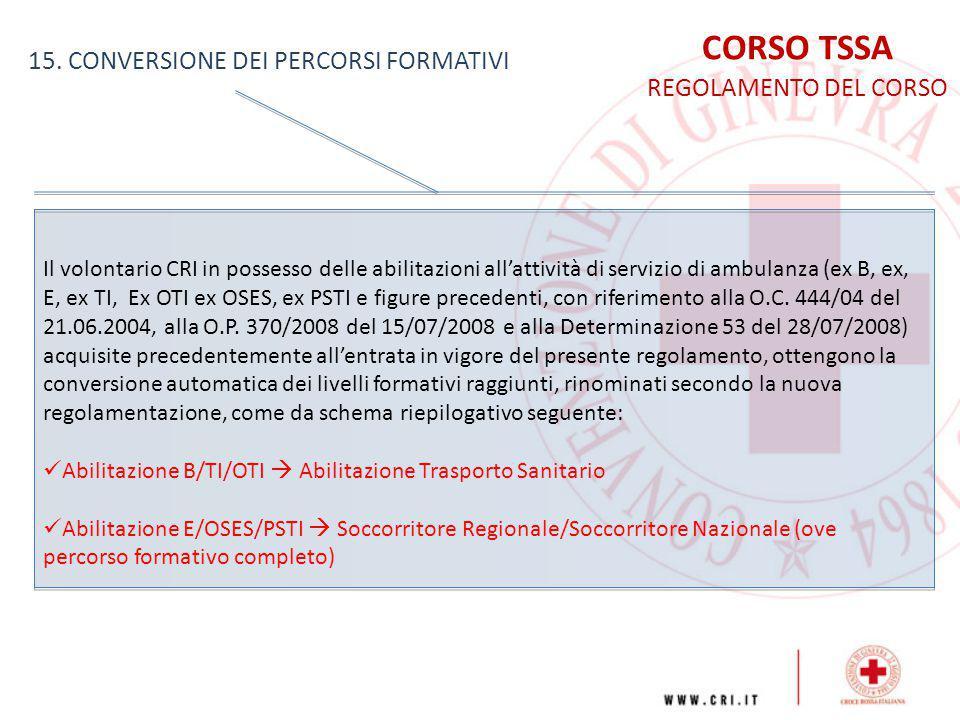 CORSO TSSA 15. CONVERSIONE DEI PERCORSI FORMATIVI