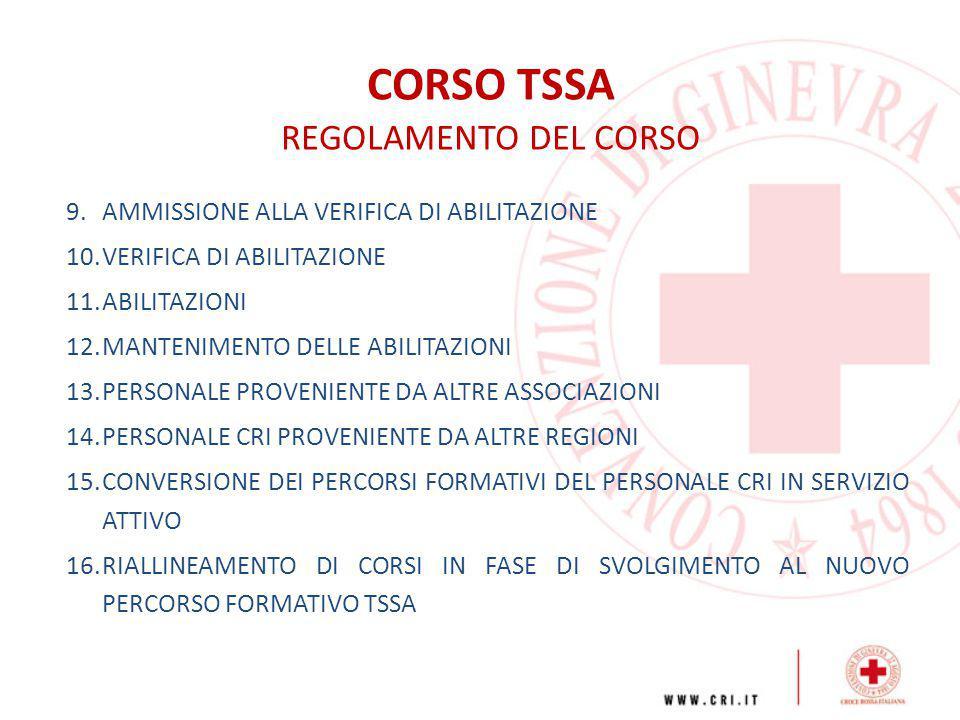CORSO TSSA REGOLAMENTO DEL CORSO