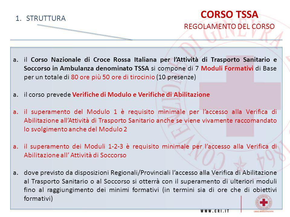 CORSO TSSA STRUTTURA REGOLAMENTO DEL CORSO