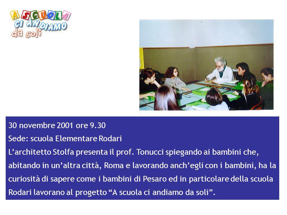 30 novembre 2001 ore 9.30 Sede: scuola Elementare Rodari.