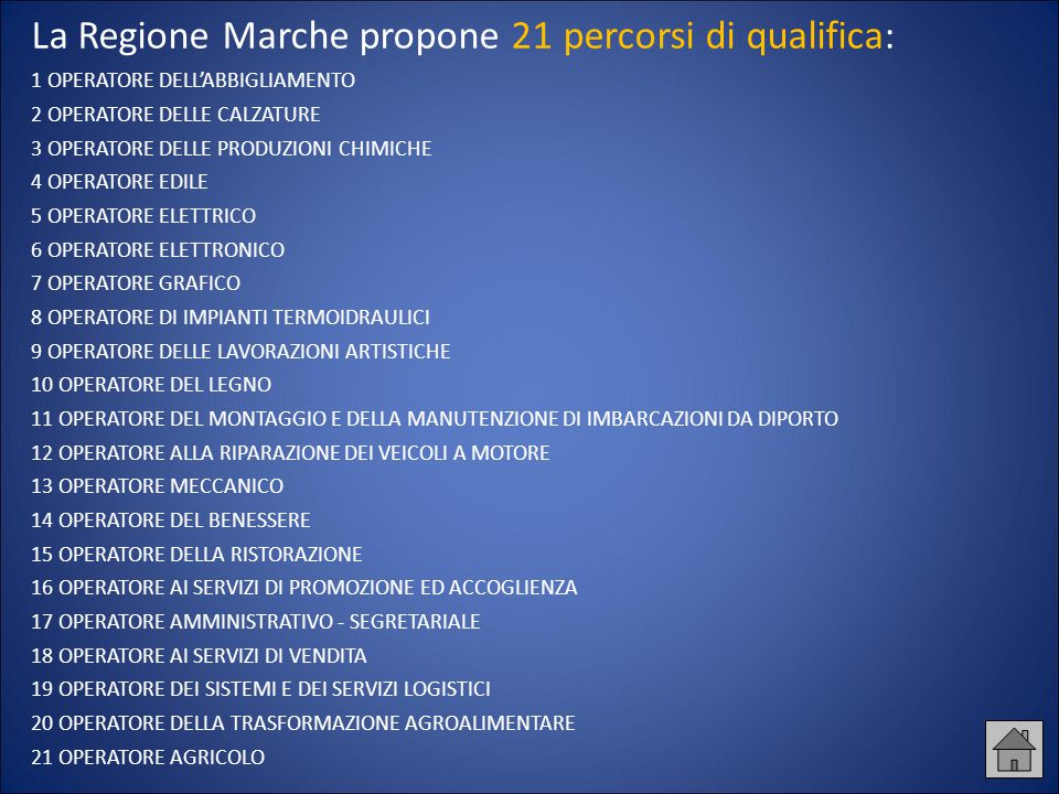 La Regione Marche propone 21 percorsi di qualifica: