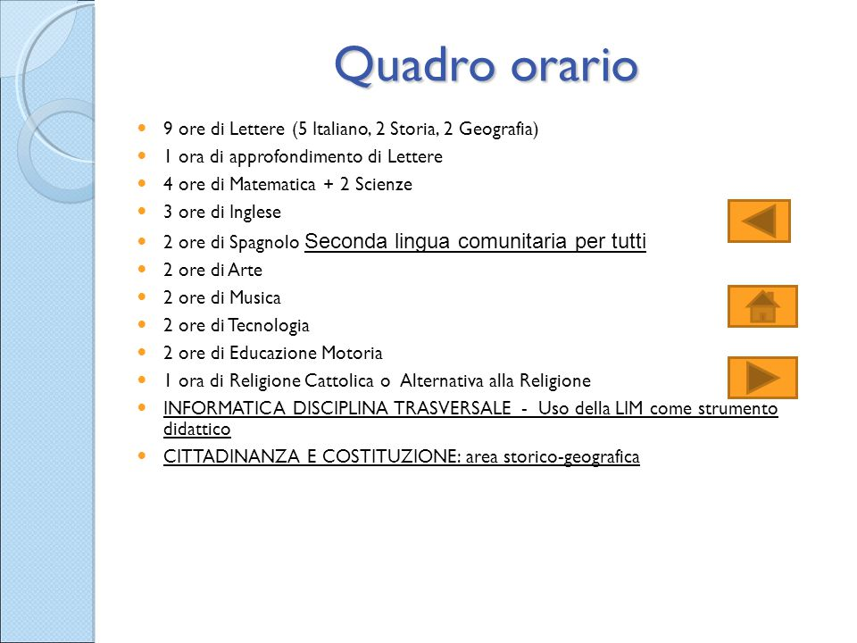Quadro orario 9 ore di Lettere (5 Italiano, 2 Storia, 2 Geografia)