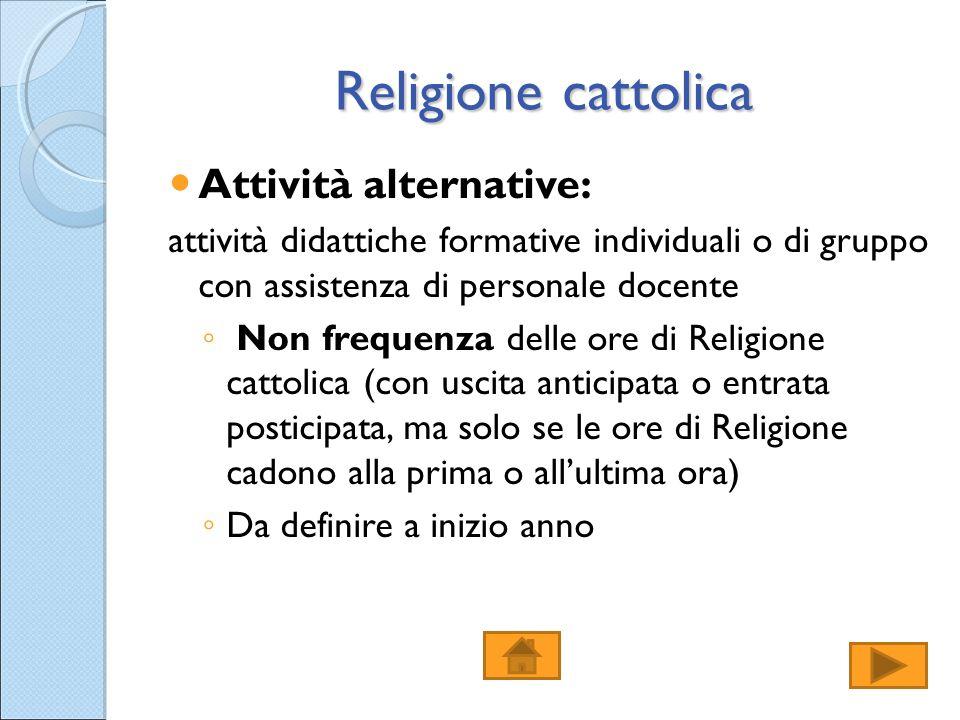 Religione cattolica Attività alternative: