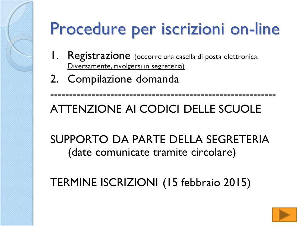 Procedure per iscrizioni on-line