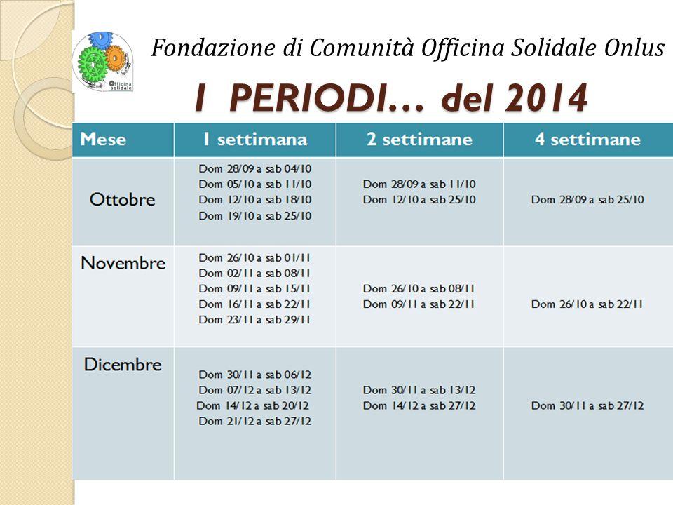 I PERIODI… del 2014 Fondazione di Comunità Officina Solidale Onlus