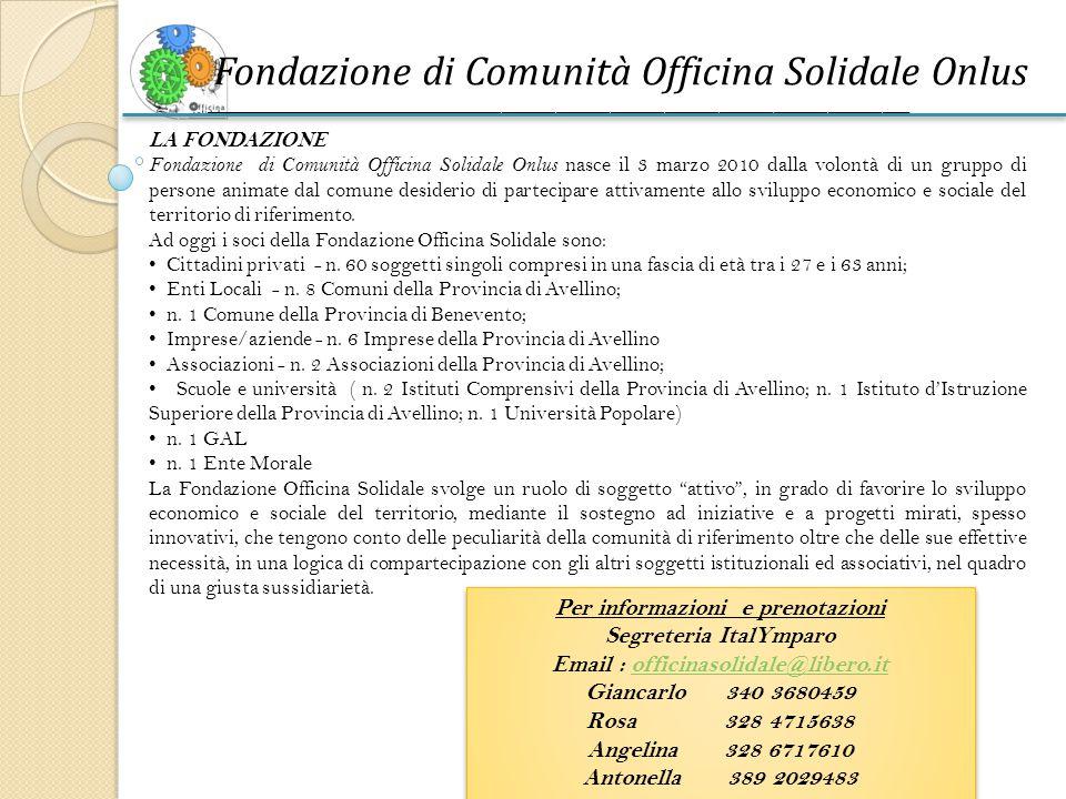 Per informazioni e prenotazioni Segreteria ItalYmparo