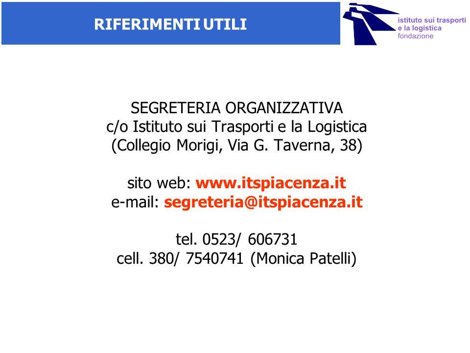 SEGRETERIA ORGANIZZATIVA c/o Istituto sui Trasporti e la Logistica