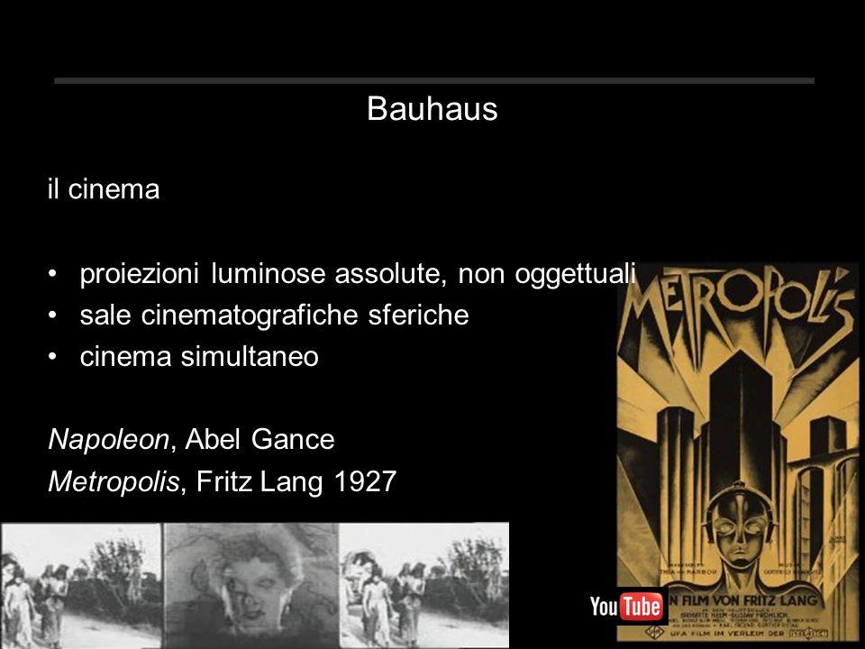 Bauhaus il cinema proiezioni luminose assolute, non oggettuali