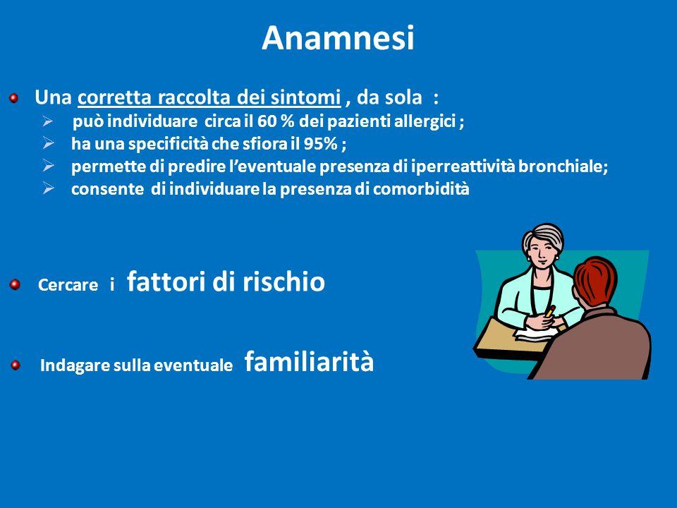 Anamnesi ha una specificità che sfiora il 95% ;