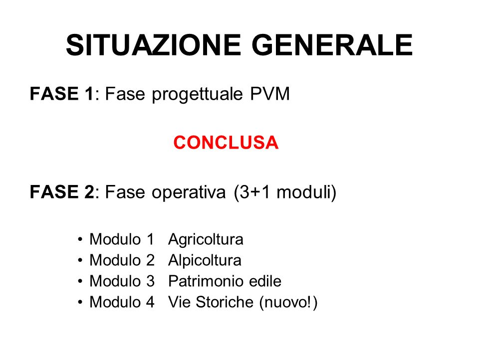 SITUAZIONE GENERALE FASE 1: Fase progettuale PVM CONCLUSA