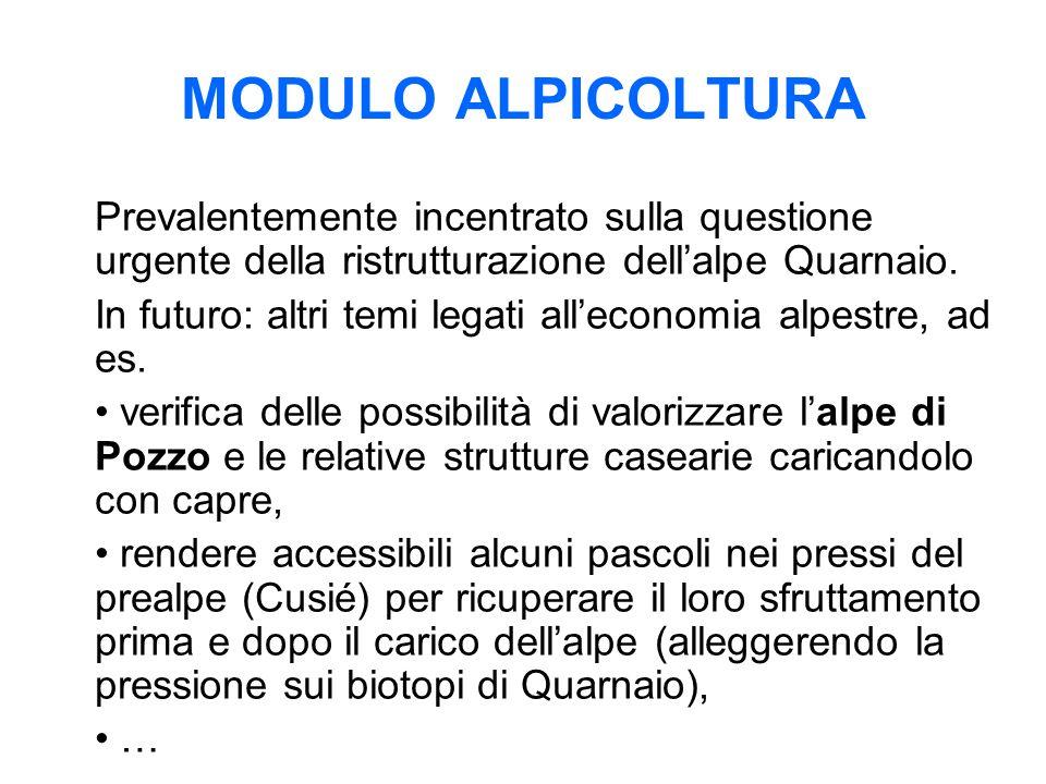 MODULO ALPICOLTURA Prevalentemente incentrato sulla questione urgente della ristrutturazione dell'alpe Quarnaio.