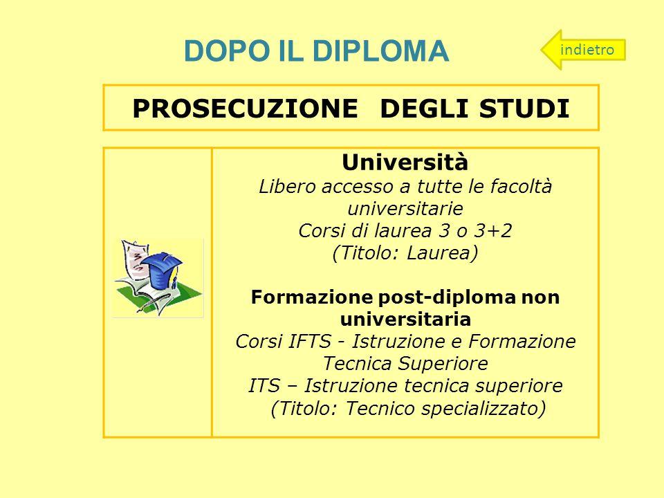 PROSECUZIONE DEGLI STUDI Formazione post-diploma non universitaria