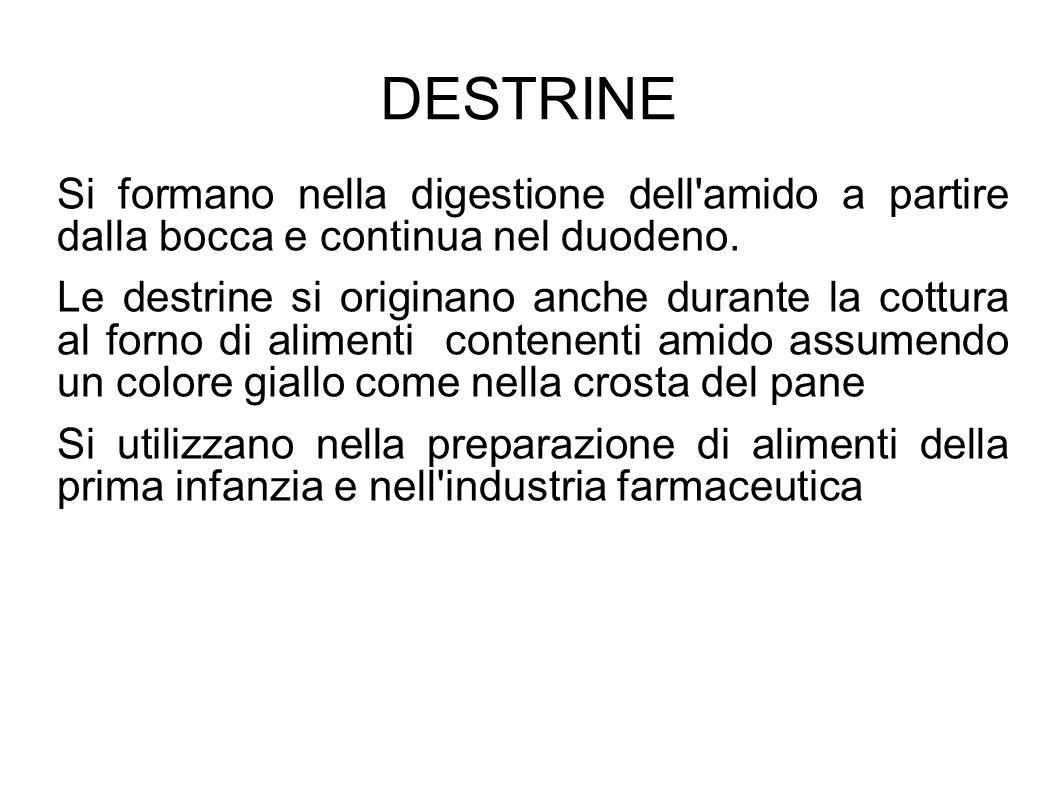 DESTRINE Si formano nella digestione dell amido a partire dalla bocca e continua nel duodeno.