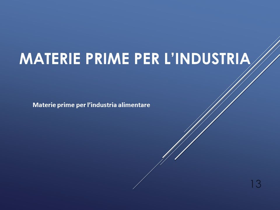 Materie prime per l'industria