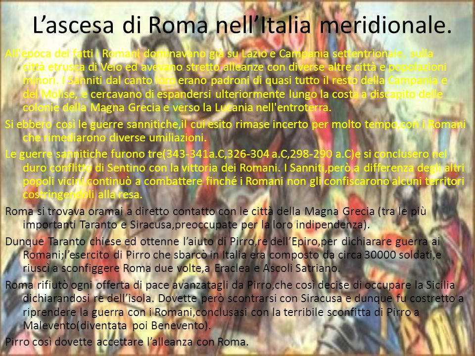 L'ascesa di Roma nell'Italia meridionale.