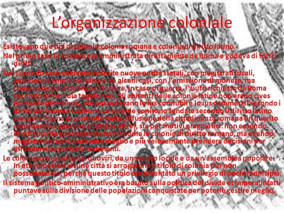 L'organizzazione coloniale