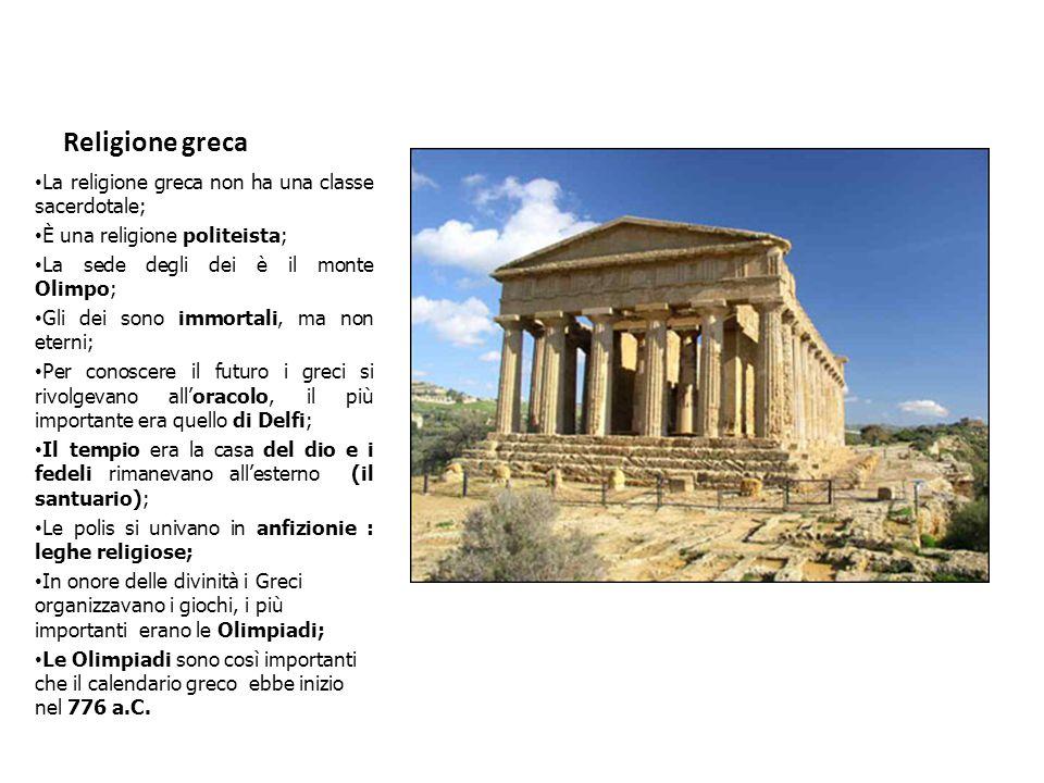 Religione greca La religione greca non ha una classe sacerdotale;
