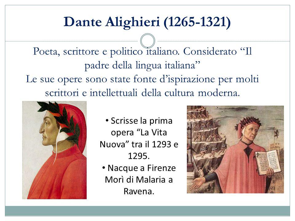 Dante Alighieri (1265-1321) Poeta, scrittore e politico italiano. Considerato Il padre della lingua italiana