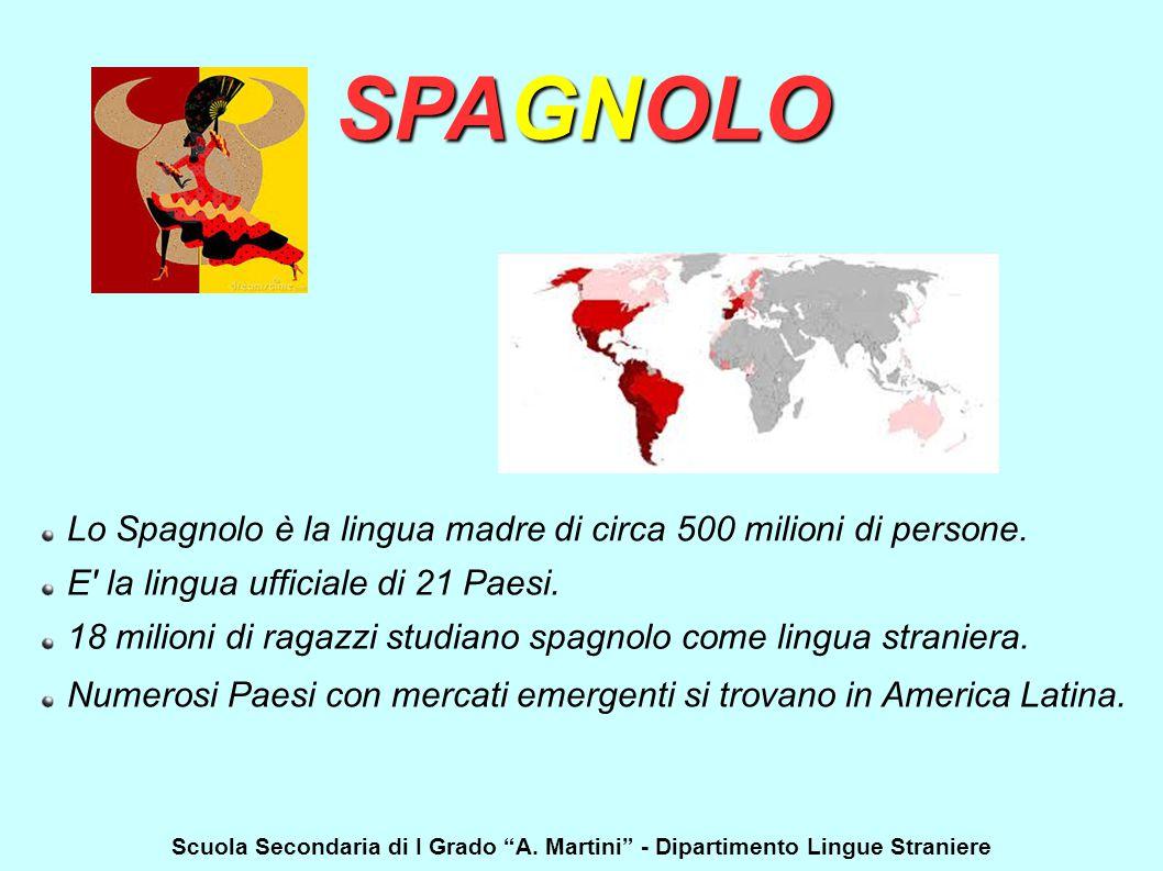 SPAGNOLO Lo Spagnolo è la lingua madre di circa 500 milioni di persone. E la lingua ufficiale di 21 Paesi.