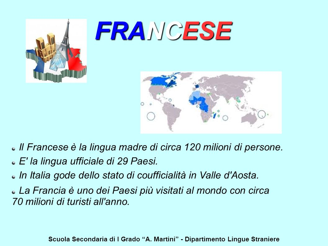 FRANCESE Il Francese è la lingua madre di circa 120 milioni di persone. E la lingua ufficiale di 29 Paesi.