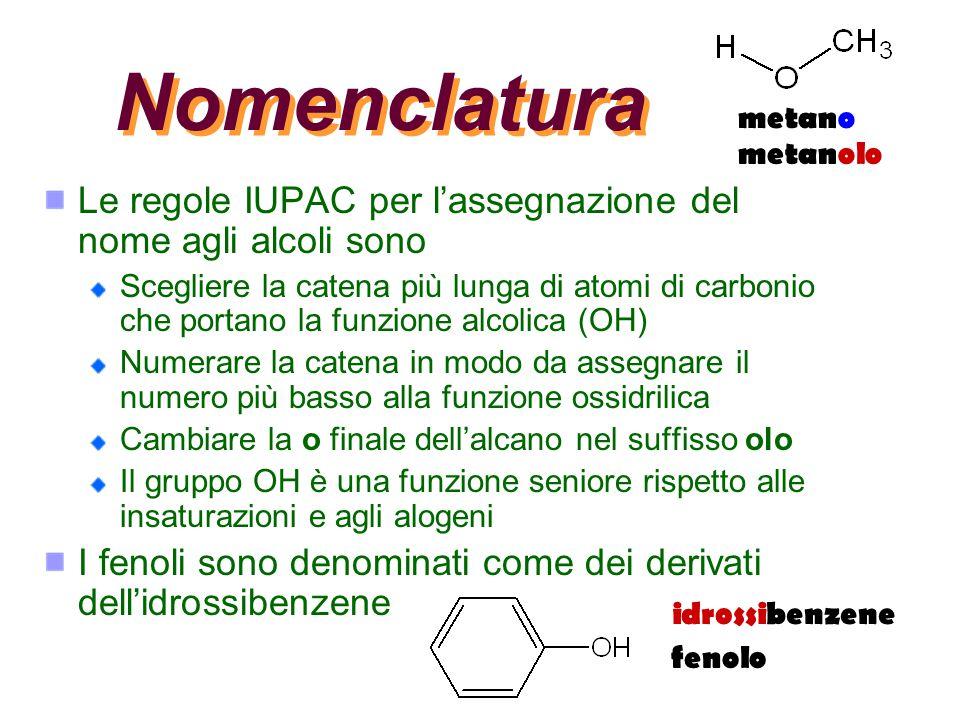 Nomenclatura metano. metanolo. Le regole IUPAC per l'assegnazione del nome agli alcoli sono.
