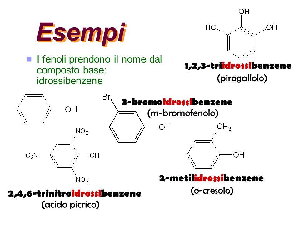 Esempi I fenoli prendono il nome dal composto base: idrossibenzene