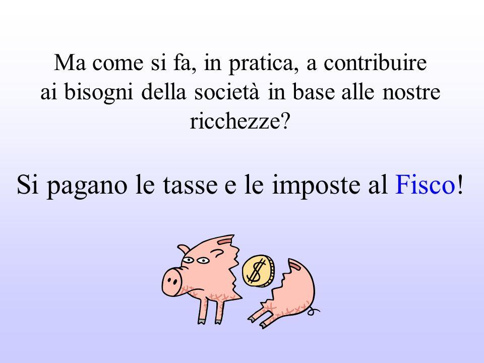 Si pagano le tasse e le imposte al Fisco!