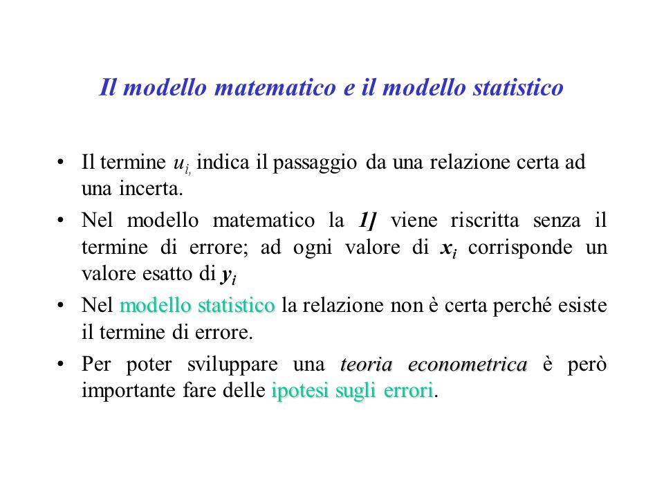 Il modello matematico e il modello statistico