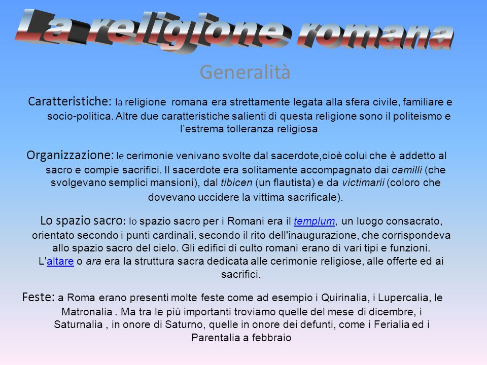 La religione romana Generalità