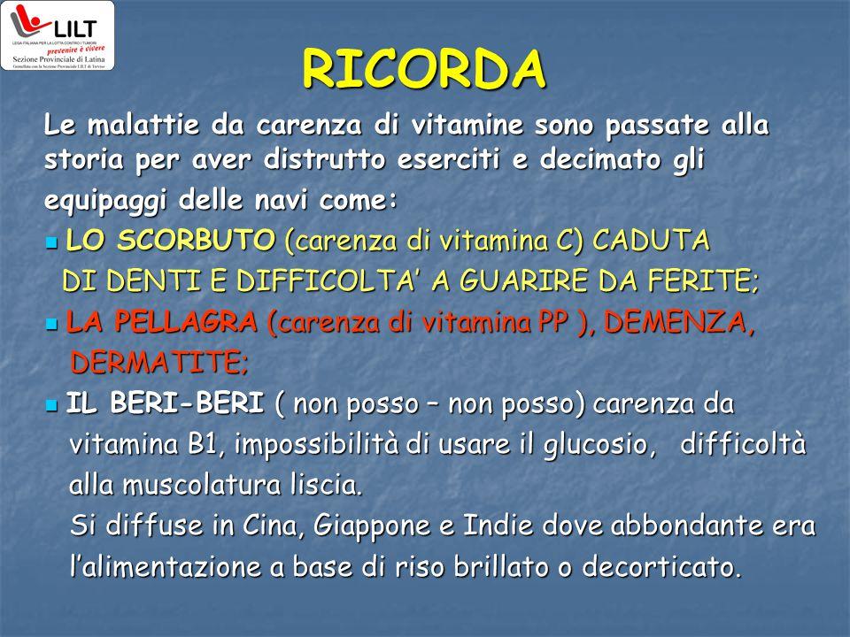 RICORDA Le malattie da carenza di vitamine sono passate alla storia per aver distrutto eserciti e decimato gli.