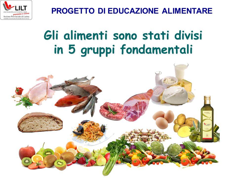 Gli alimenti sono stati divisi in 5 gruppi fondamentali