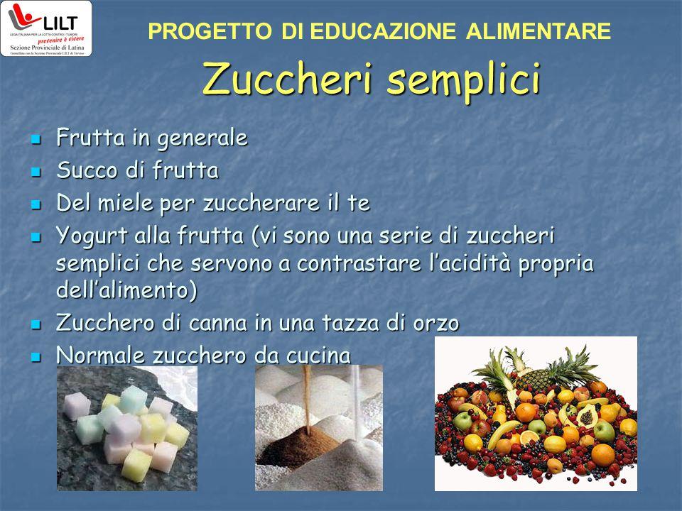 Zuccheri semplici PROGETTO DI EDUCAZIONE ALIMENTARE Frutta in generale