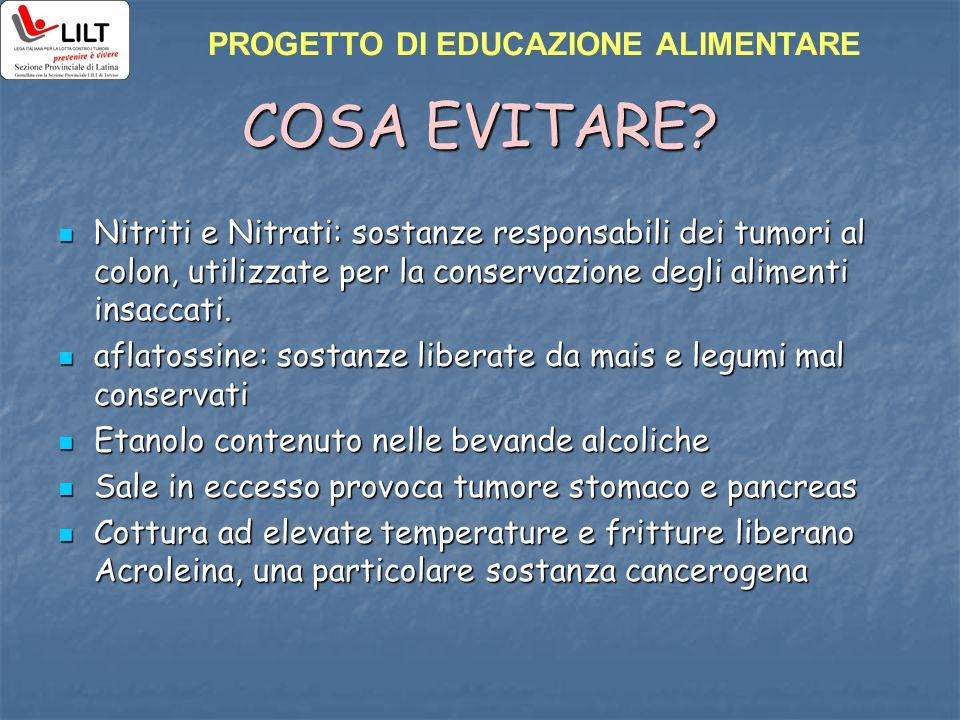 COSA EVITARE PROGETTO DI EDUCAZIONE ALIMENTARE