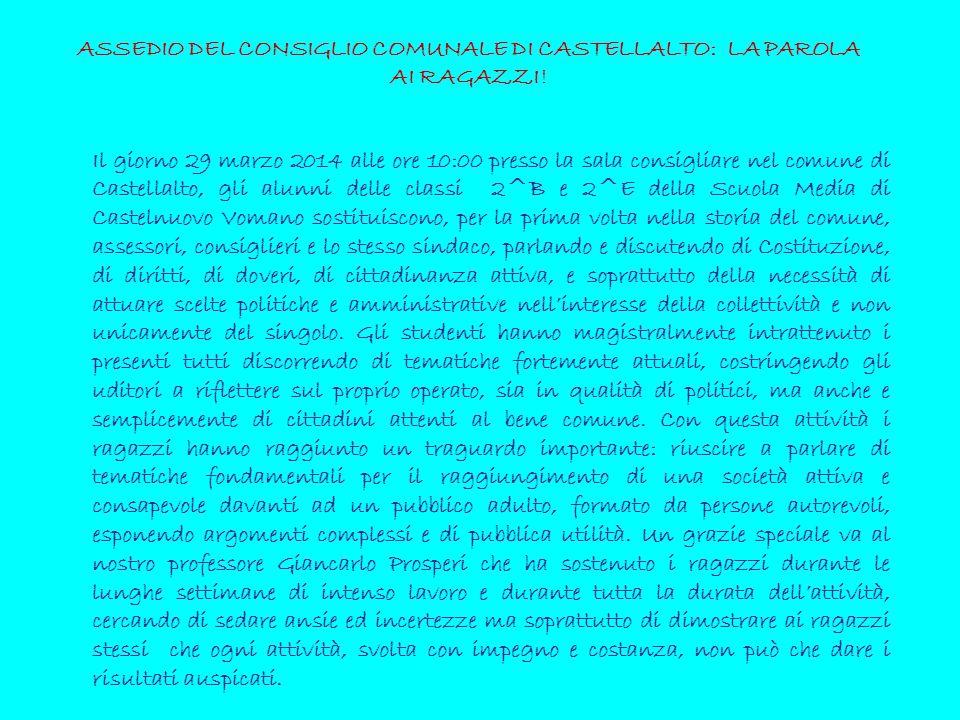 ASSEDIO DEL CONSIGLIO COMUNALE DI CASTELLALTO: LA PAROLA AI RAGAZZI!