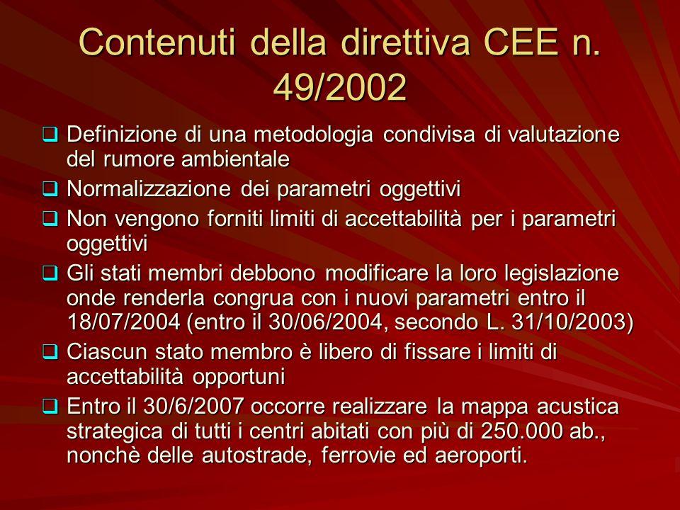 Contenuti della direttiva CEE n. 49/2002