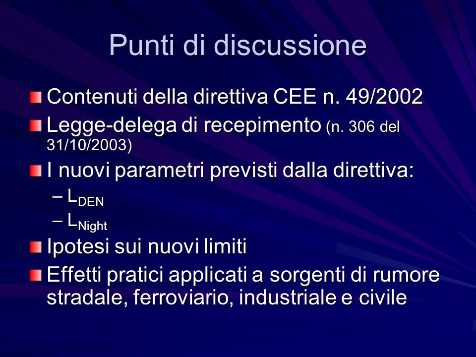 Punti di discussione Contenuti della direttiva CEE n. 49/2002