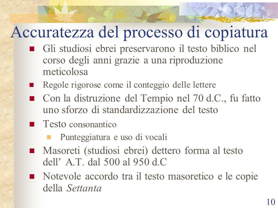 Accuratezza del processo di copiatura