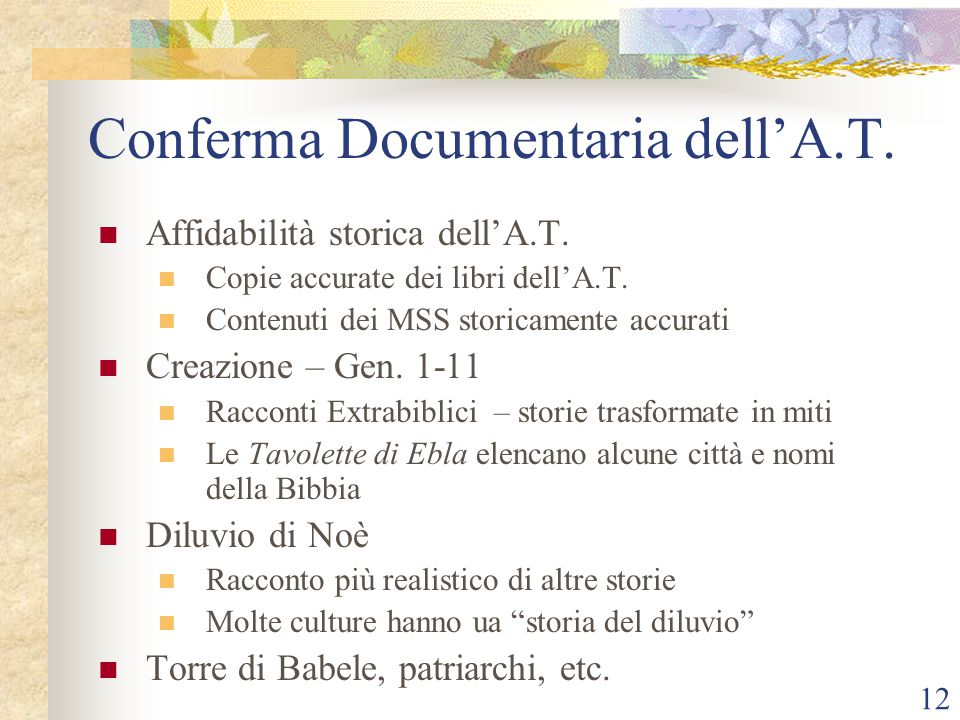 Conferma Documentaria dell'A.T.