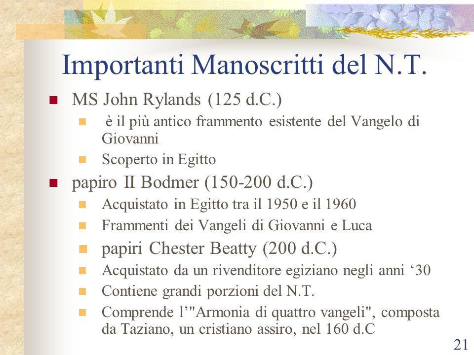 Importanti Manoscritti del N.T.