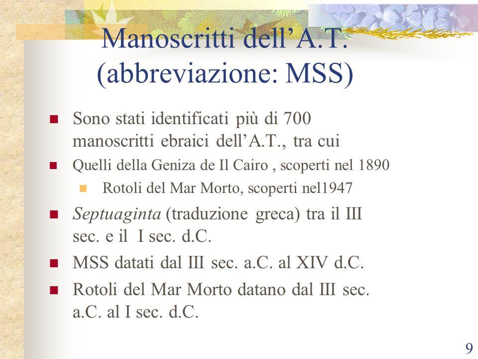 Manoscritti dell'A.T. (abbreviazione: MSS)