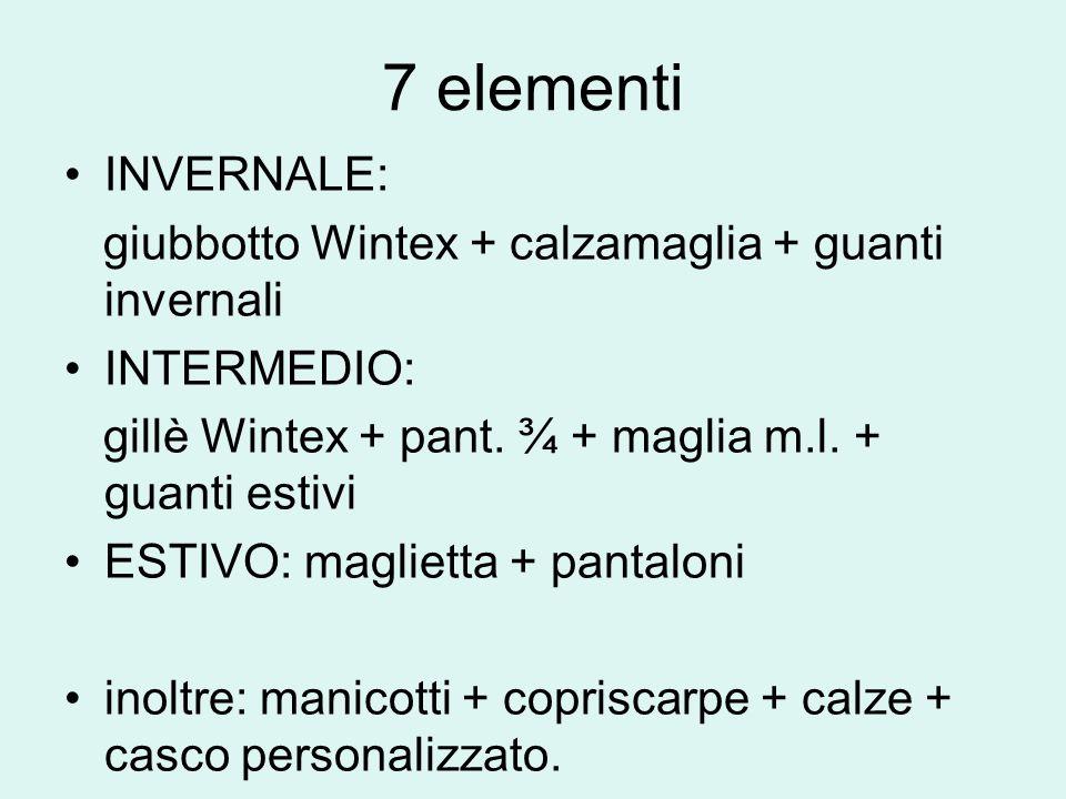 7 elementi INVERNALE: giubbotto Wintex + calzamaglia + guanti invernali. INTERMEDIO: gillè Wintex + pant. ¾ + maglia m.l. + guanti estivi.