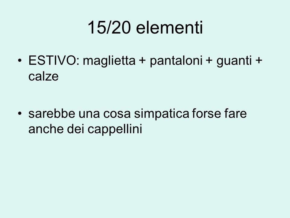 15/20 elementi ESTIVO: maglietta + pantaloni + guanti + calze