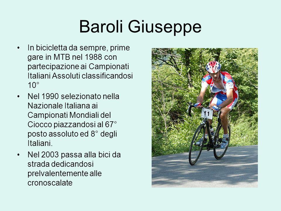 Baroli Giuseppe In bicicletta da sempre, prime gare in MTB nel 1988 con partecipazione ai Campionati Italiani Assoluti classificandosi 10°