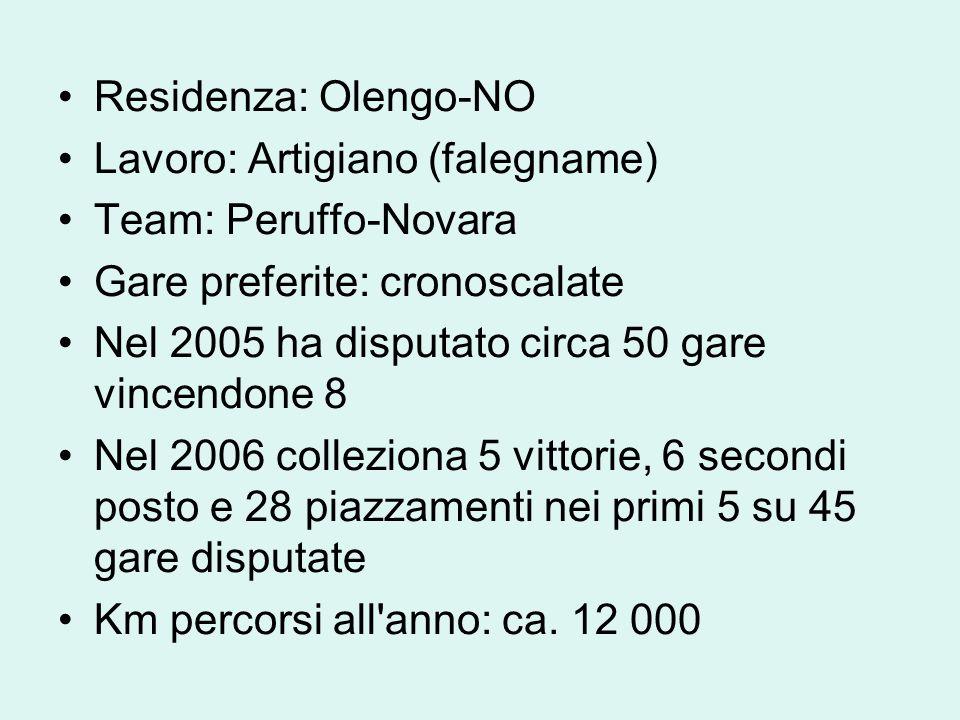 Residenza: Olengo-NO Lavoro: Artigiano (falegname) Team: Peruffo-Novara. Gare preferite: cronoscalate.